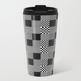 Classic Black and White Country Patchwork Quilt Metal Travel Mug