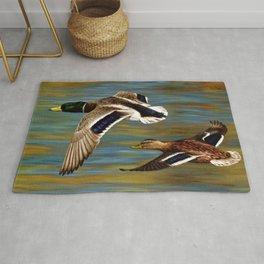 Mallard Ducks in Flight Rug