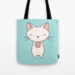 Kawaii Cute Cat With Heart Tote Bag