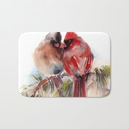Cardinal Birds Couple Bath Mat