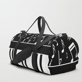 Stylish black and white piano keys and musical notes Duffle Bag