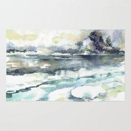 Siberia. Winter landscape / Watercolor. Rug