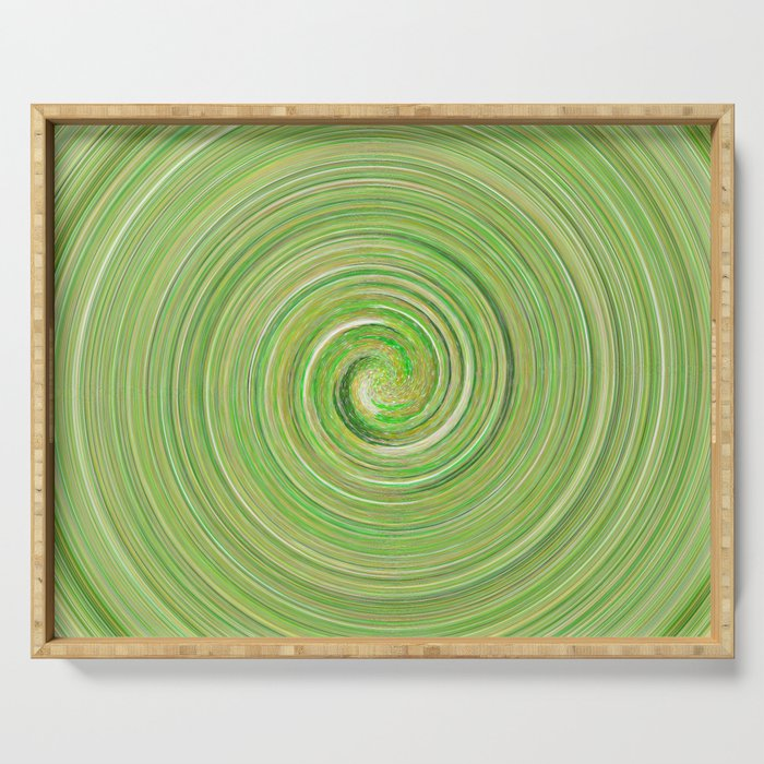 Green forest waves Serving Tray