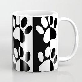 Black And White Dog Paws And Stripes Coffee Mug