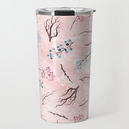 Watercolor coral brown blue pink floral marble Travel Mug