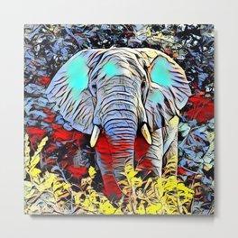 Color Kick - Elephant Metal Print