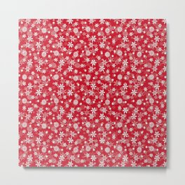Christmas Red Poinsettia Snow Flakes Metal Print