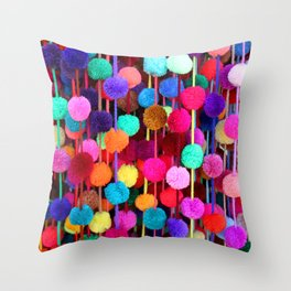 Rainbow Pom-poms (Horizontal) Throw Pillow