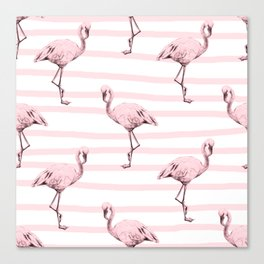 Flamingos on Drawn Stripes in Pink Flamingo Canvas Print