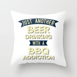Pitmaster BBQ Barbecue food grill Put my meat in your mouth and swallow design bbq addiction Throw Pillow