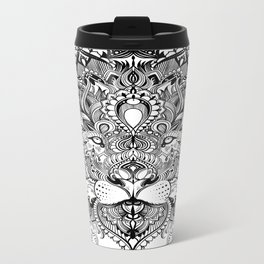 Black And White Geometric pattern mandala lion face Metal Travel Mug