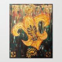 fleur de lis Canvas Prints featuring Fleur De Lis by Crystal Nero