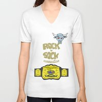 wwe V-neck T-shirts featuring Rock 'N' Sock WWE The Rock by ems23