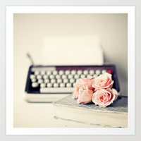 writing Art Prints featuring Romance Writing by Caroline Mint