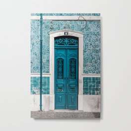 Blue Door Print Lisbon Poster Portugal Print Doorway Print Urban Architecture Photography Print Metal Print