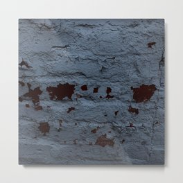 Textured Brick Blue Metal Print