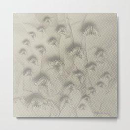 Butterfly swarm on textured chevron pattern Metal Print