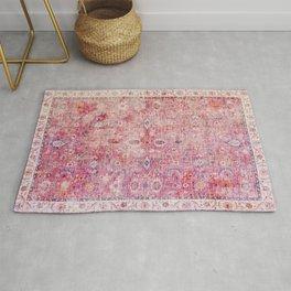 Pink Vintage Antique Oriental Traditional Moroccan Original Artwork Rug