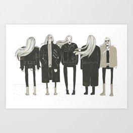Skinny men in leather jackets Art Print