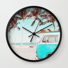 Retro Camper Van With Surf Board Wall Clock