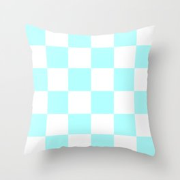 Large Checkered - White and Celeste Cyan Throw Pillow