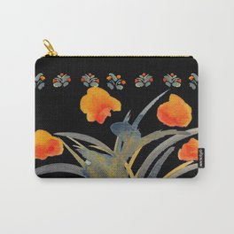Atom Flowers #34 in orange and blue grey Carry-All Pouch
