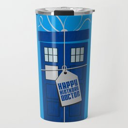What's in the blue box? (Doctor Who) Travel Mug