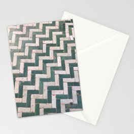 Moroccan floor tiles in green and white chevron Stationery Cards