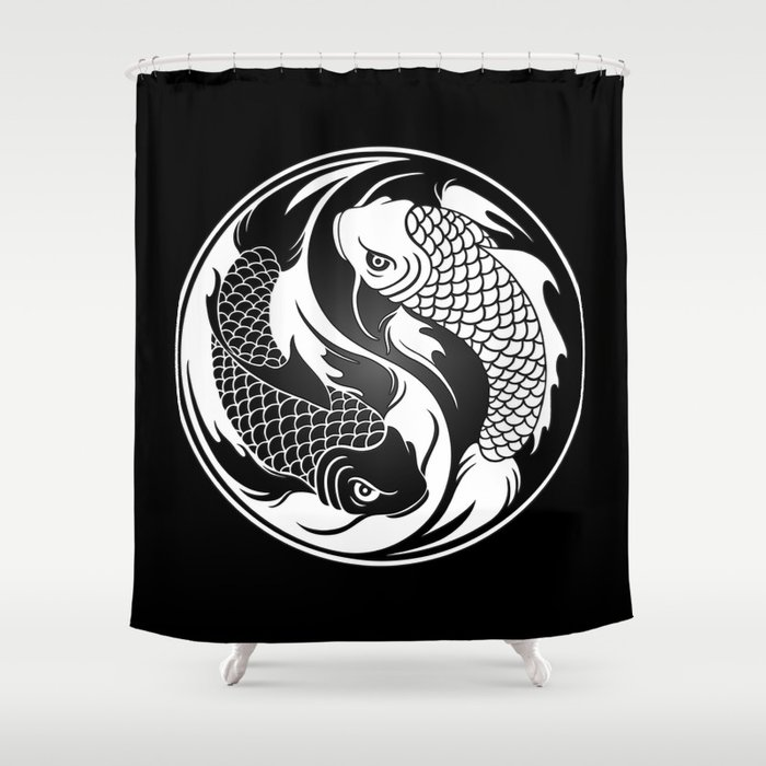 White And Black Yin Yang Koi Fish Shower Curtain By Jeffbartels
