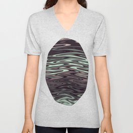 Ripples Fractal in Mint Hot Chocolate Unisex V-Neck