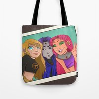 teen titans Tote Bags featuring Teen Titan Girls by Angie Nasca
