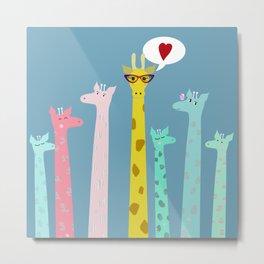 Giraffes party Metal Print