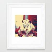 popart Framed Art Prints featuring Lion popart by MehrFarbeimLeben