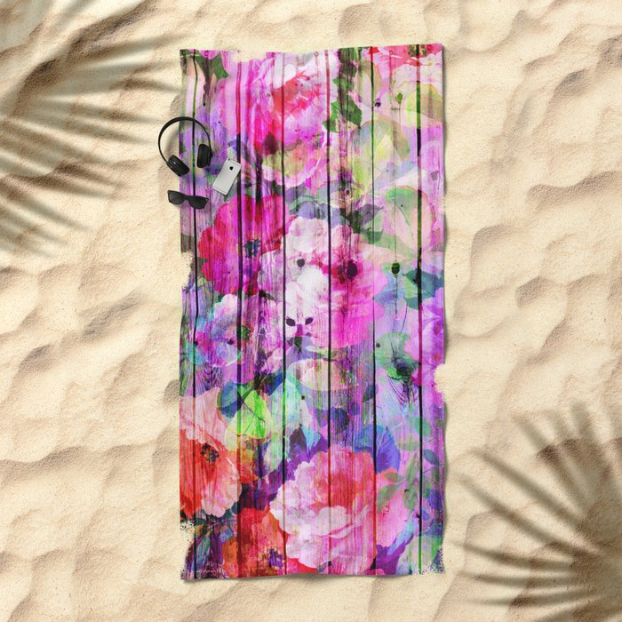 Flowers in the Wood Beach Towel