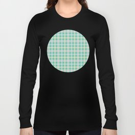 Orange, Blue & Yellow Plaid Pattern with Green Background Long Sleeve T-shirt