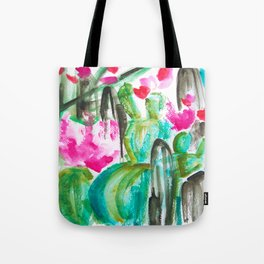 Pink Happy Plants Tote Bag