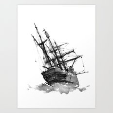 wrecked ship Art Print