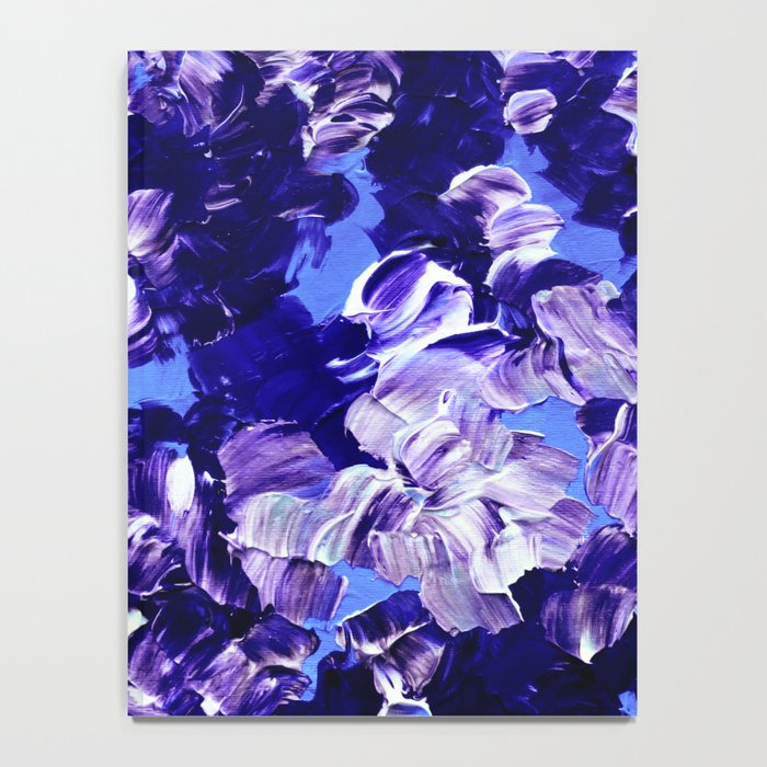FLORAL FANTASY 2 Bold  Blue Lavender Purple Abstract Flowers Acrylic Textural Painting Garden Art Notebook