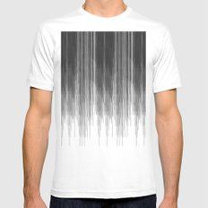 Black and Grey Paint Drips on White Mens Fitted Tee White MEDIUM