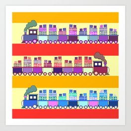 Colorful trains with Christmas gifts Art Print