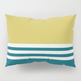 Off White, Dark Yellow and Tropical Dark Teal Inspired by Sherwin Williams 2020 Trending Color Oceanside SW6496 Straight Horizontal Triple Stripe Pattern Pillow Sham