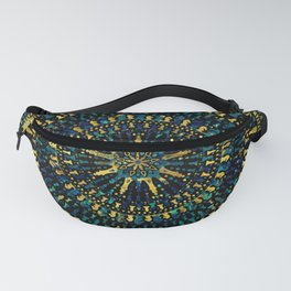 Chess Pieces Mandala - Marble and Golden texture Fanny Pack