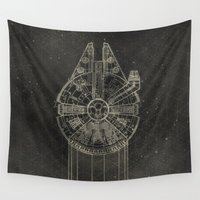 falcon Wall Tapestries featuring Millennium Falcon by LindseyCowley