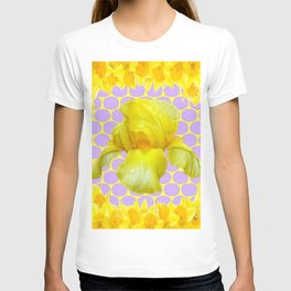 ABSTRACT YELLOW SPRING IRIS GOLDEN DAFFODILS FRAME T-shirt