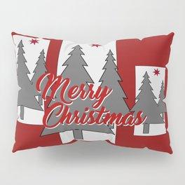Tree Merry Christmas grey red III Pillow Sham