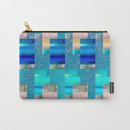 Geometric Glitter Rectangle Dimension in Cool Hues Carry-All Pouch
