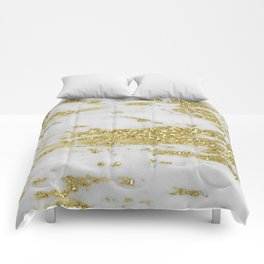 Marble - Glittery Gold Marble on White Design Comforters