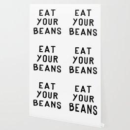 Eat Your Beans - Black on White Wallpaper