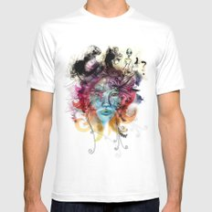 colorful White MEDIUM Mens Fitted Tee