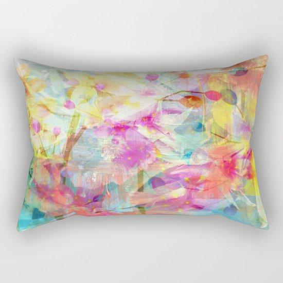 Colorful Painterly Spring Floral Abstract Rectangular Pillow